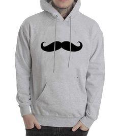 mustache grey color Hoodies
