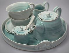 Hand Thrown Porcelain Tea Set by Gemma Wightman Ceramics                                                                                                                                                                                 More