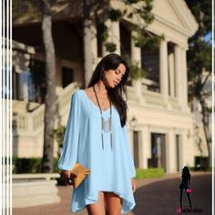 Baby Blue Boho Chiffon Tunic/Dress M Fluttering Layers of baby blue chiffon and slit long sleeves make this sweet Boho dress a must for the coming seasons. Wear as a mini or tunic. Size M. Color swatches in pics 2 and 3, best I could get.  Available in white in separate listing. Dresses