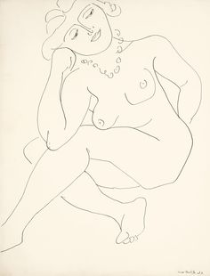 HENRI MATISSE 1869 - 1954 NU ASSIS (THÈMES ET VARIATIONS) OU FEMME AU COLLIER Signed Henri Matisse and dated 37 (lower right) Pen and ink on paper 24 3/4 by 19 3/4 in. Executed in 1937