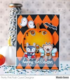 Hello and welcome to day 2 of Halloween Theme Week. Wanda here and today I am sharing a card featuring several PPP products. All this week, save on items in our Halloween section! Halloween Cards, Halloween Themes, Halloween Fun, Halloween Projects, Tropical Frames, Leaf Stencil, Pretty Pink Posh, Friends Set, Shaker Cards