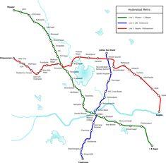 Metro Rail : Hyderabad U-Bahn-Karte , Indien
