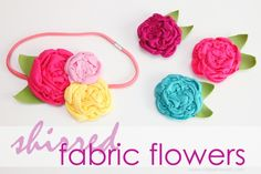 Shirred Fabric Flowers {made from knit fabric scraps}: a great addition to have in your girl's hair bow stash.   www.makeit-loveit.com
