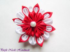 Doina - Handmade Floral Broach by Purple Nicole (Nicole Cea Mov), red and white handmade kanzashi satin flower.