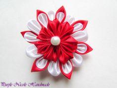 Doina - Handmade Floral Broach by Purple Nicole (Nicole Cea Mov), red and white handmade kanzashi satin flower.