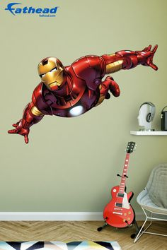 This Avengers removable wall decal featuring the almighty Iron Man, is a great way to add impact and character to your kids' bedroom walls. SHOP Superhero vinyl wall art decor at http://www.fathead.com/heroes/avengers-assemble/iron-man-avengers-assemble-wall-decal/   Home Decor On A Budget   Kids DIY Bedroom Decor   Peel + Stick Wall Murals   Superhero Bedroom