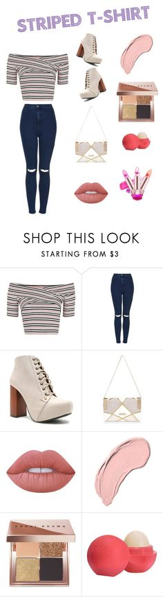 """Senys - Striped Shirt Contest"" by kentigerna on Polyvore featuring moda, Topshop, Qupid, River Island, Lime Crime, NYX, Bobbi Brown Cosmetics, Eos e stripedshirt"