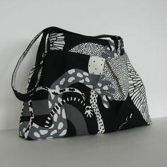 Cotton handbag , purse , Handmade vegan casual shoulder bag in black and ivory , holiday gift for her ,  shoulder purse , fabric bag