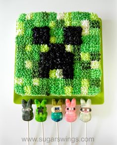 Sugar Swings! Serve Some: Minecraft Creeper Cake and Character Peeps Pops