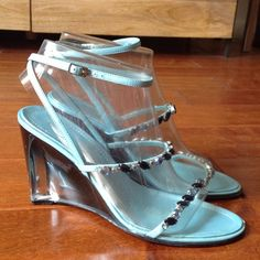 Enzo Angiolini Turquoise Wedge Beautiful turquoise wedge sandal with ombré lucite heel and two jewel encrusted straps. Worn twice, purchased for an event. Enzo Angiolini Shoes Wedges