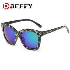 76f5a2b9ca67 Camouflage Square Frame Sunglasses Coating Mirror UV400