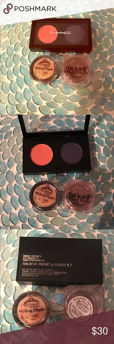 """HP! Warm Eyeshadow Set, Fabulous Shades! Looking for some fun new shadows to add to your shadow collection? This is it! This set includes:             LE MAC Shadow Duo, """"Double Feature 8"""" (both have a shimmer/sheen, mid-tone orange, deep navy/purple, depending on your skin tone it can show up either way), .10OZ, $25  Naked Cosmetics Loose Pigment, """"Sierra Nevada"""", (copper bronze w/ a fine rose gold sheen- GORGEOUS!) .05OZ, $15 M Princess Loose Pigment, """"Melting Maple"""", .04OZ, $15 Total…"""