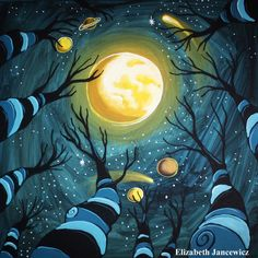 Looking Up at the Night Sky Art Print by ElizabethJJancewicz