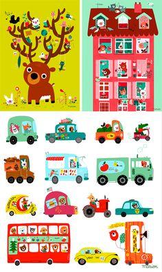 Illustrations de Marion Billet via poulettemagique.com > affiches à acheter sur laffichemoderne.com