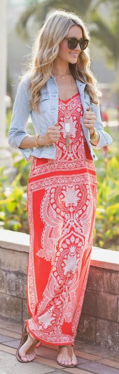 Loooove this maxi dress and the cute little denim jacket over it is adorable!