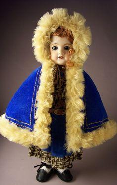 Bleuette Winter Dress and Cape 1908  *BLUEBIRD TEXTILES*