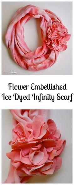 Architecture of a Mom: DIY Flower Embellished Ice-Dyed Infinity Scarf How-to