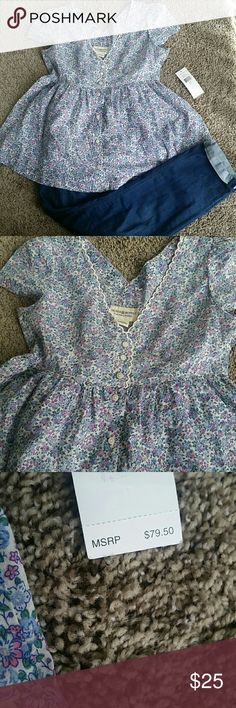 ***WEEKEND SALE***  Denim & Supply baby doll top White baby doll blouse with light blue and lilac flowers all over, functional buttons all the way down. Very flattering. NO TRADES, NO OFFERS. brand new with tags. Ralph Lauren Tops Button Down Shirts