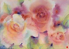 Roses in the Mist by Yvonne Joyner Watercolor ~ 16 in including mat x 20 in. Watercolor Projects, Watercolor Cactus, Watercolor Images, Watercolor Rose, Watercolour Painting, Watercolors, Rose Art, Painting Inspiration, Flower Art