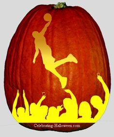 Basketball Player Pumpkin Carving Stencil