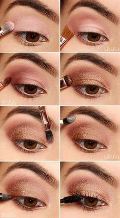 Eyeshadow, Eye Makeup Inspiration, Augen Make-Up Tried And Tested Skin Care Tips Eye Makeup Steps, Bronze Eye Makeup, Easy Eye Makeup, Tan Skin Makeup, Hair Makeup, Hair And Makeup Tips, Homecoming Makeup, Homecoming Dance, Pinterest Makeup