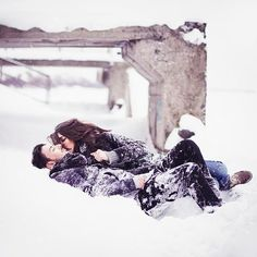 rolling around in the snow :)
