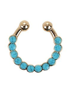 Faux Gold Turquoise Stone Septum Ring, , hi-res