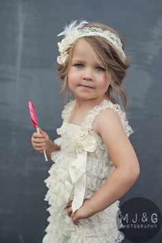 Kids Clothes Girl - with Cream color lace romper - children clothing. $39.95, via Etsy. L would love this!: this would be a great flower girls dress super cute