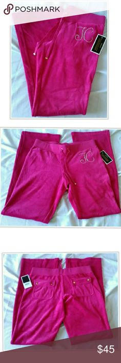 """Juicy Couture Hot Pink Jewel Bootcut Velour Pants Juicy Couture Floral Jewel Velour Bootcut Pant Color Heartbreaker,  Size Small, Inseam 32-1/8""""  New with Tags Retail $132  Color Shades May Appear Different In Person  Reasonable Offers Considered, No Trades Juicy Couture Pants Track Pants & Joggers"""