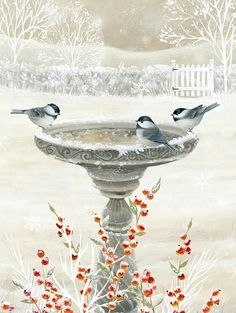 Best Garden Decorations Tips and Tricks You Need to Know - Modern Christmas Bird, Christmas Scenes, Winter Painting, Winter Art, Art Carte, Illustration Art, Illustrations, Christmas Paintings, Pics Art