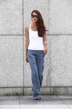 Elegance Casual Splicing Edging Straight Low-waist Pants in Grey Blue.   these pants are awesome.