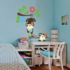 Aliexpress.com: Koupit 2014 originální design! Odnímatelná Naughty opice na stromě Květiny Dětský pokoj samolepky na zeď Cartoon…