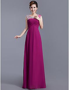Sheath/Column  Scoop Floor-length  Chiffon  Evening Dress