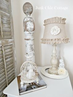 Junk Chic Cottage Love the ruffled burlap lampshade