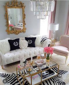 Girly home decor Glam Living Room, Glam Room, Living Room Decor, Glamorous Living Rooms, Luxury Living, Cozy Living, Modern Living, Adult Bedroom Design, Rooms Home Decor