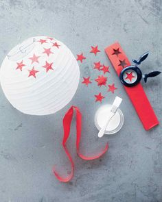 Paper cut stars added to paper lanterns