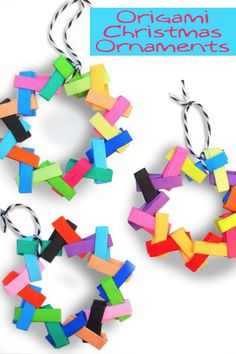 Make these colorful origami Christmas ornaments using bright and cheery paper! These are so easy, and teach children basic folding skills.