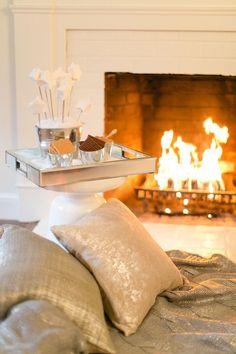 Fireplace, metallic pillows
