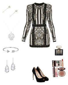 """Party"" by maria-matilde-ibsen on Polyvore featuring Balmain, GUESS, Plukka, Bling Jewelry, Anne Sisteron, Gucci and Charlotte Tilbury"