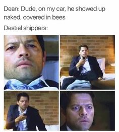 I adore that he swears on Baby (his car) that Cas showed up naked AND covered in bees.