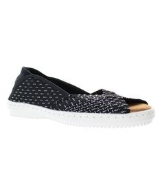 Look what I found on #zulily! Black Silver Woven Brooke Flat #zulilyfinds