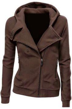Stylish Hooded Long Sleeve Zippered Slimming Women's HoodieSweatshirts & Hoodies | RoseGal.com