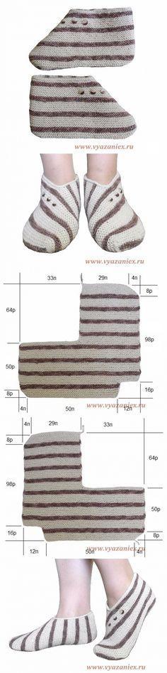 Необычные полосатые следки - изделие, связанное спицами