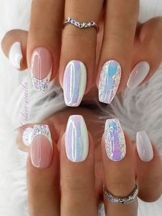 Glam Nails, Fancy Nails, Toe Nails, Pink Nails, Coffin Nails, Glitter Nails, White Nails With Glitter, Nagellack Design, Nagellack Trends
