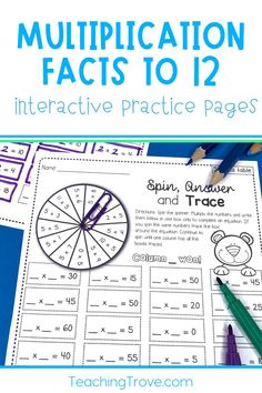 Have your class practice their multiplication facts from 0 times to 12 times with this set of multiplication worksheets. Use them in your math center or as a fun alternative to regular homework. They are also perfect for fast finishers. Contains 23 printable hands-on multiplication sheets perfect for improving number fact fluency.