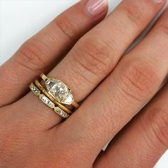 You got to love a good gold stack!! Pictured is our new Tina ring with our Jane and Olivia bands. Now on the website.