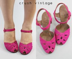 1940s Shoes 4.5 / 40s Suede Peep Toes / Panorama by CrushVintage, $42.00