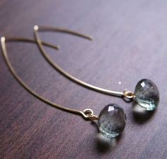 These are fabulous:  Teal Aquamarine Gold Earrings Drop Earrings by friedasophie.  Want.