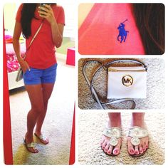 Boring, casual OOTD. Ralph Lauren tshirt. J. Crew Chino shorts. Platinum Jack Rogers. Michael Kors cross body from the outlets.