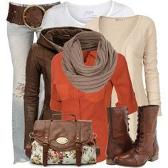 """""""Layers"""" by wishlist123 on Polyvore Too many layers for me but I love the belt on the hips and that burnt orange top. I would probably do a darker khaki pant though"""
